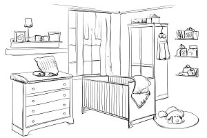 Baby room interior sketch
