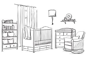 Child room interior sketch