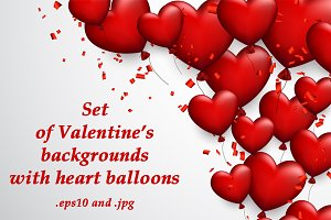 Valentine's set with heart balloons