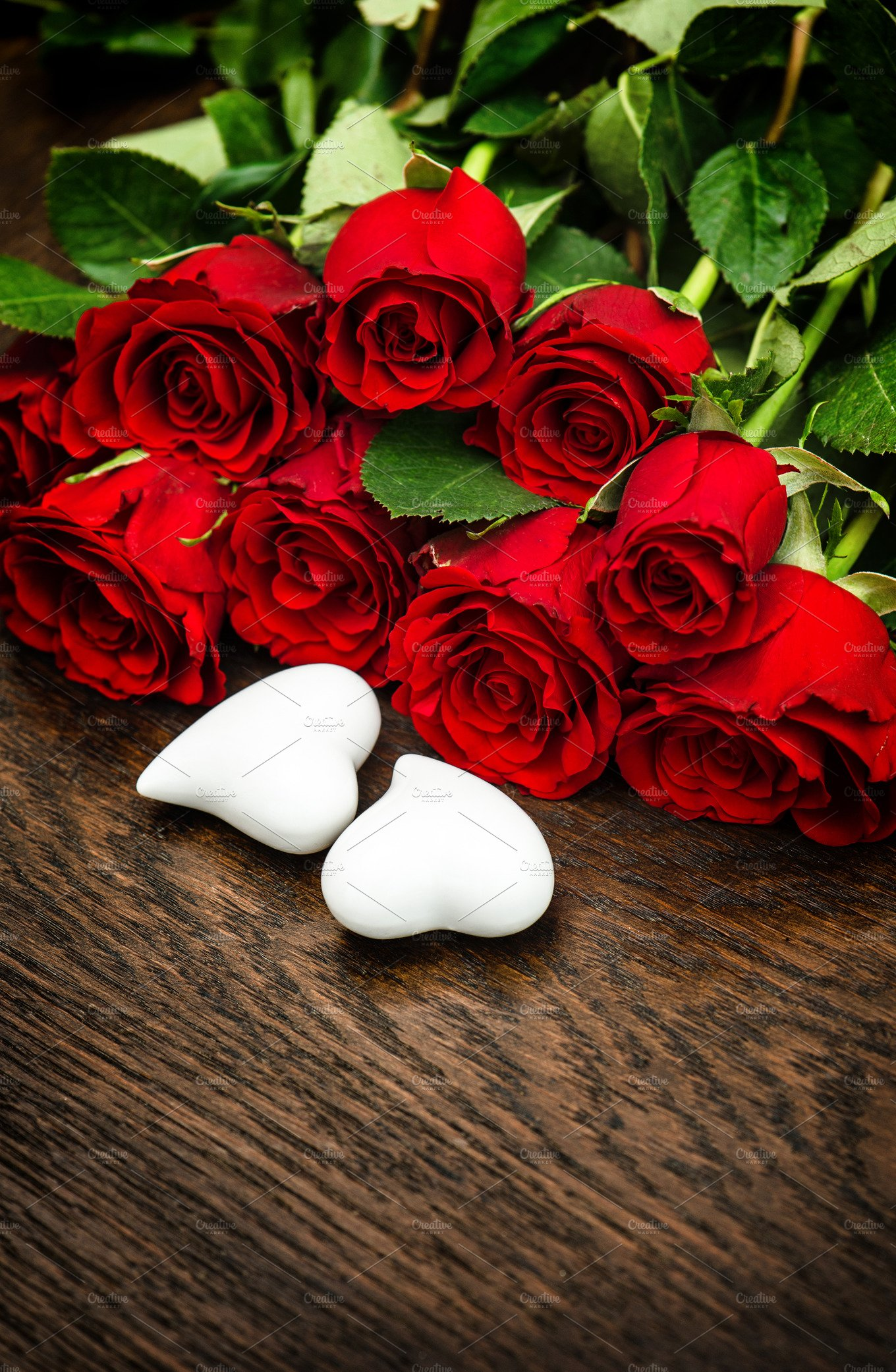 Red Roses Hearts Valentines Day