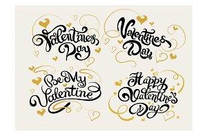 Valentine, text design, vector set