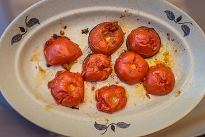 grilled tomato halves cut