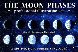 Vector Moon Phases Illustrations