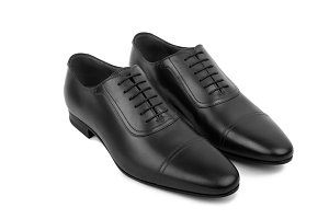 Black leather male shoes
