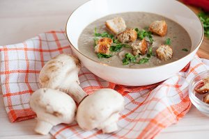Mushroom cream soup on a table, food