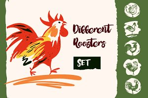 Set of illustration with rooster.