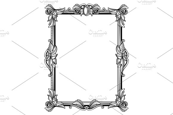 Retro Antique Baroque Border Frame With Scroll Ornaments Vector Illustration