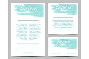 Watercolour modern card, watercolor backdrop for postcard, banner, brochure vector design