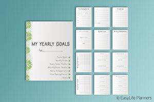 "Yearly Goals Planner 7""x9.25"""