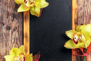 blackboard and flower