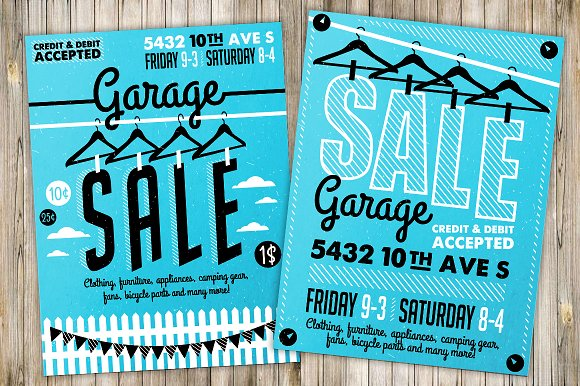 garage sale flyer poster 3 illustrations creative market