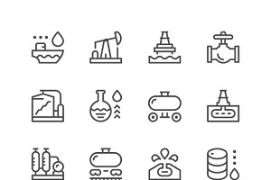 Set line icons of oil industry