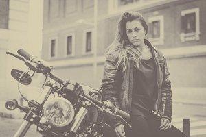 biker woman wearing a leather jacket