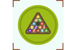 Billiard balls rack icon. Vector