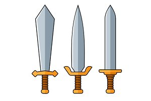 Swords Cartoon Style Set