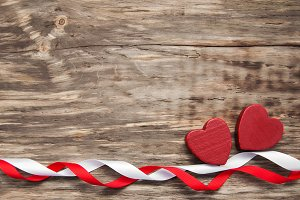 Hearts and red ribbon