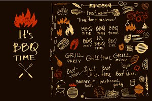 Barbecue logo and design elements
