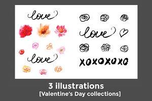 Set of 3 illustr Valentine's Day