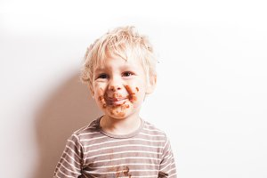 Boy eated chocolate
