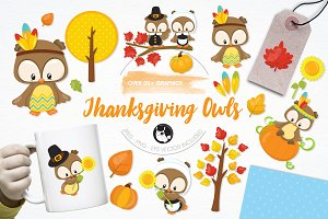 Thanksgiving owl illustration pack