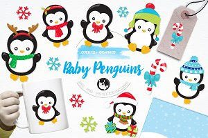 Baby penguins illustration pack