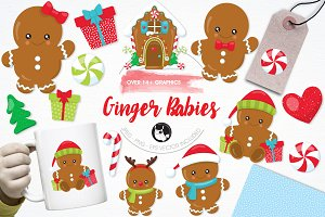 Gingerbread babies illustration pack