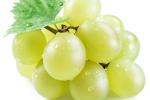 Bunch of white grapes on the white