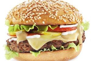 Hamburger isolated on a whi