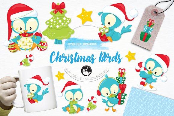 Christmas Birds Illustration Pack