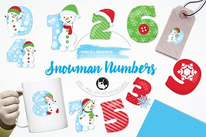 Snowman numbers illustration pack