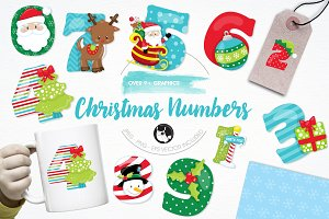 Christmas numbers illustration pack