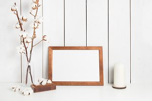 Frame & cotton on white