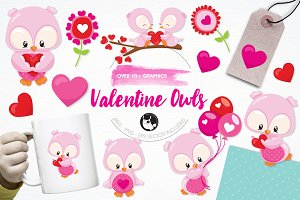Valentine owls illustration pack