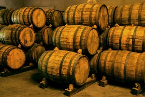 Stacked wine barrels