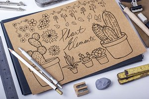 Hand-drawn Plant Elements