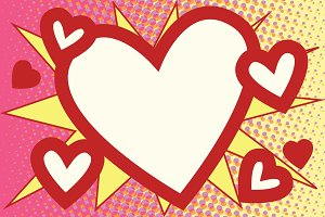 Red heart Valentines pop art background