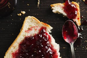 cranberry jam spread on bread