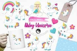 Baby unicorn illustration pack