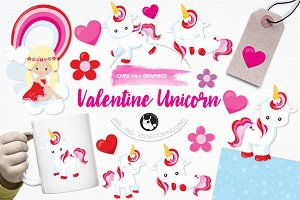 Valentine unicorn illustration pack