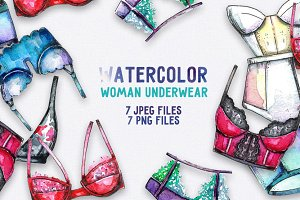 Watercolor woman underwear set