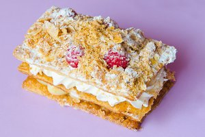 mille feuille with raspberries