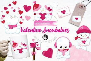 Valentine snowman illustration pack