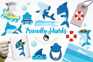 Friendly sharks illustration pack