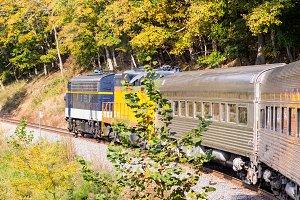 Diesel engine on train trip up valley