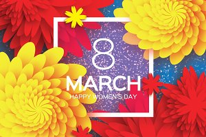 8 March. Yellow Red Paper Flower
