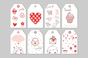 Cute Valentine gift tags set