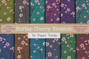 Cherry Blossom burlap