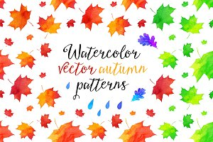8 vector watercolor autumn patterns