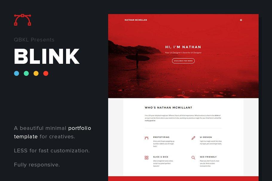 73a86159f BLINK: HTML Portfolio (50% off) ~ HTML/CSS Themes ~ Creative Market