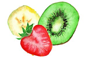 Watercolor banana kiwi strawberry